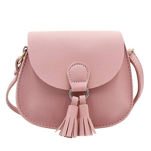 Cute Cat Tassel Shoulder Bag Small Mini Coin Purse Messenger Bag Crossbody Satchel For Kids Girls, Color D Pink(4.7x3.9)