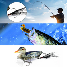 цена 7cm 10g Topwater Floating Lures Duck Fishing Baits with Hooks Jointed Hard Bait Bass Fishing Lure 3D Fishing Lures Duck онлайн в 2017 году