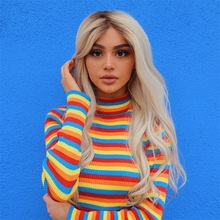 turtleneck fashion rainbow sweaters knitted pullovers women 2018 new winter sweater loose pullover jumpers female