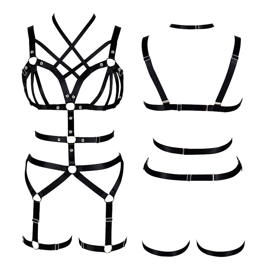 Goth Harness Bra for Women Black Body Caged Tops Hollow Out Garter Belt Sexy Lingerie Set Elastic Adjust Punk Dance Rave Clothes