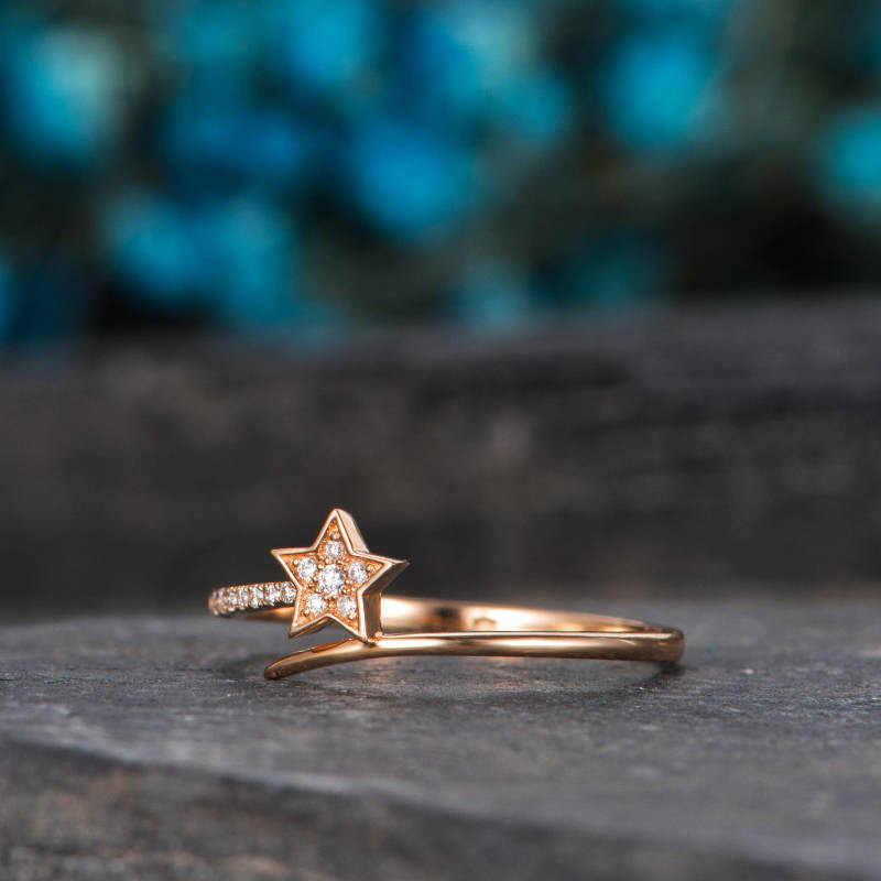 เงิน 925 aniline แหวน boe meteor แหวนฝังดาวเงินสแตนเลสหญิง jewelryRose golden หยก B2210