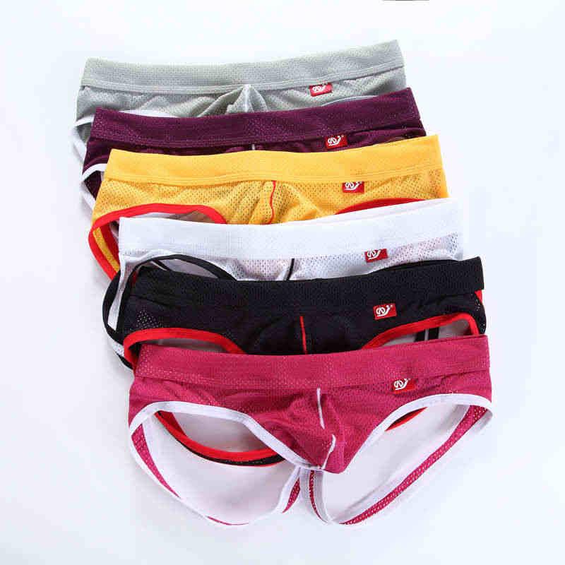 523818165189 6 Pcs/Lot Men Sexy Underwear Briefs Fetish Open Back Underpants Breathable  Mesh Triangle Panties
