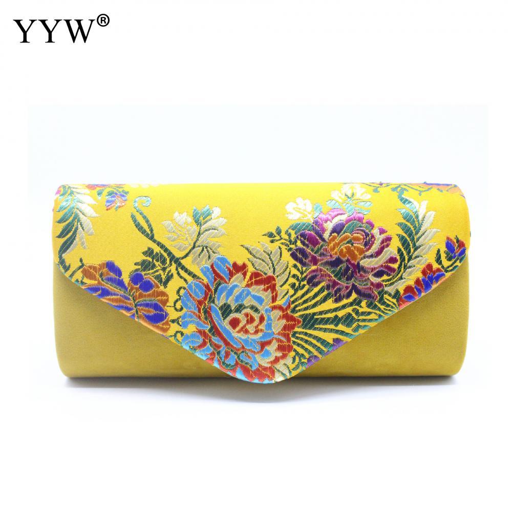 Clutches Purse Handbags Shoulder-Bag Women Bag Floral Suede Embroidered Wedding Vintage
