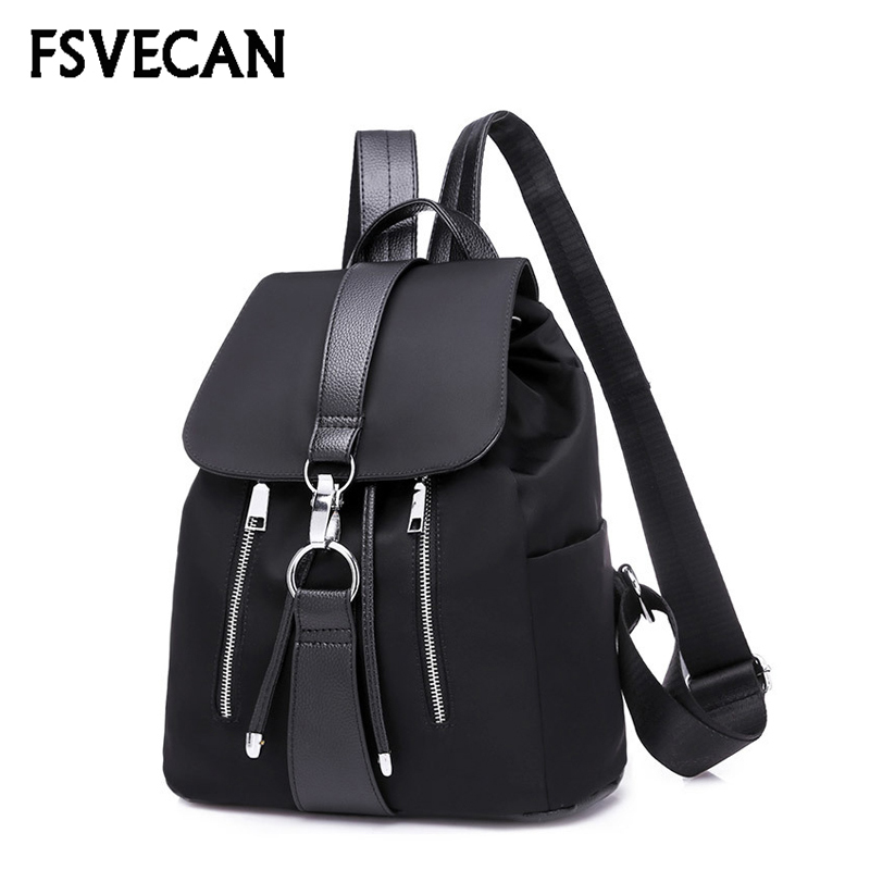 New Nylon Women Backpack Female Fashion Travel Waterproof Patchwork Leather Bag Black School Backpacks Teenager For Girls