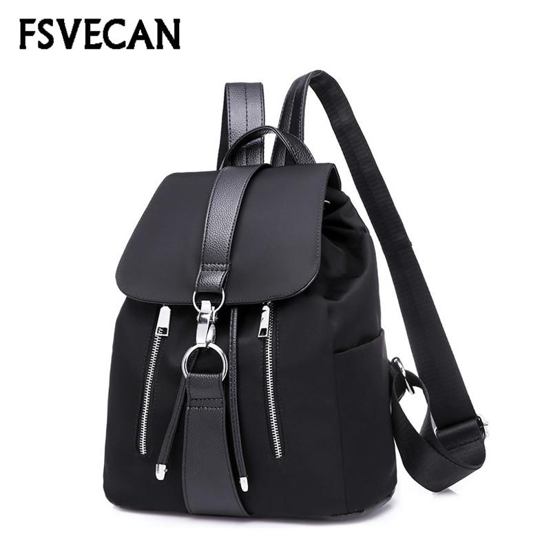 New Nylon Women Backpack Female Fashion Travel Waterproof Patchwork Leather Bag Black School Backpacks Teenager For Girls