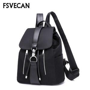 Image 2 - New 2019 Nylon Women Backpack Female Fashion Travel Waterproof Patchwork Leather Bag Black School Backpacks Teenager For Girls