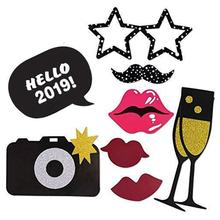 21Pieces 2019 New Years Eve Party Card Masks Photo Booth Props Christmas Supplies Decorations