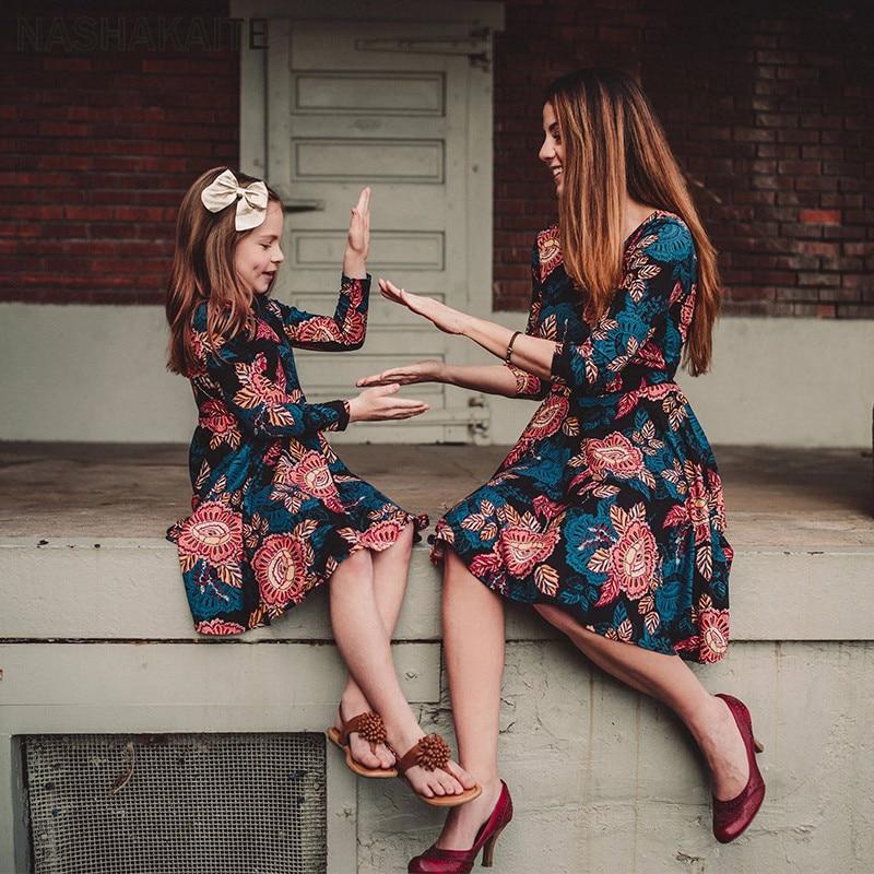 Family Clothing Daughter Dresses Floral Vintage