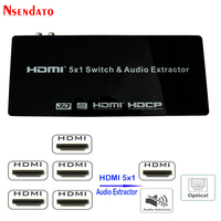 HDMI 5X1 Switch & Audio Extractor for XBOX DVD TV 5 in 1 HDMI1.4 Switcher 4K 30Hz 3D ARC Stereo Audio SPDIF RCA L/R HDCP1.4