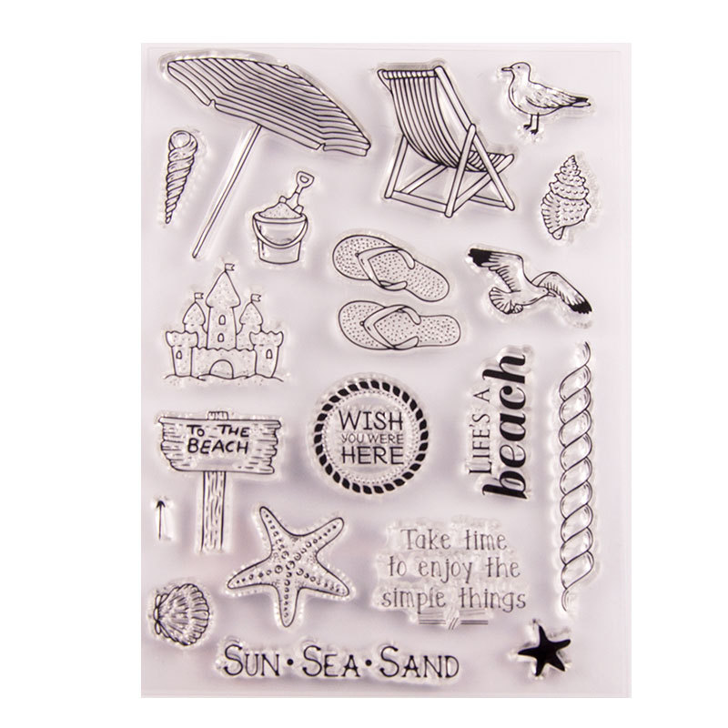 WYSE Clear Stamps Sea Travel Beach Rubber Transparent Silicone Stamp Scrapbooking for DIY Card Making Decor Craft Supplies