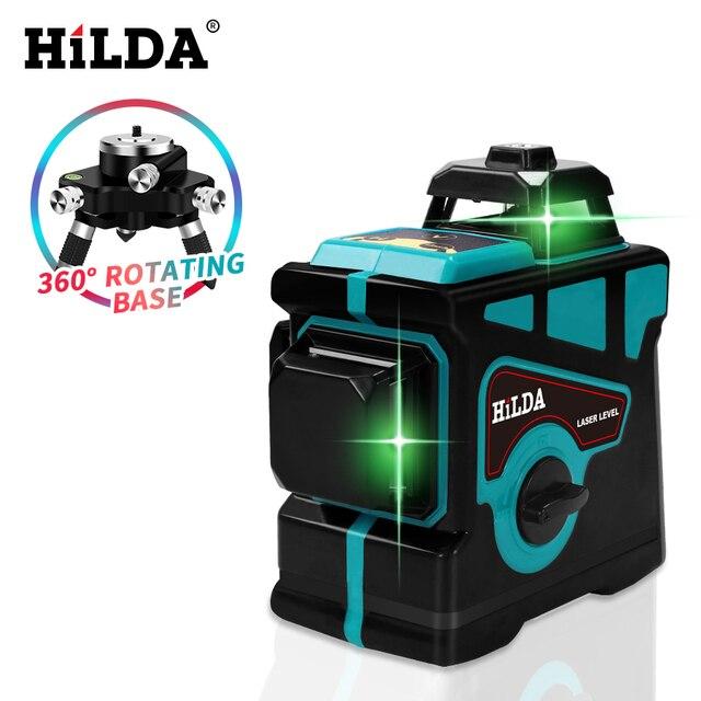 HILDA Laser 12 Đường 3D Nước Tự Cân Bằng Độ Cao 360 Ngang Và Dọc Chéo Siêu Mạnh Mẽ Xanh Laser