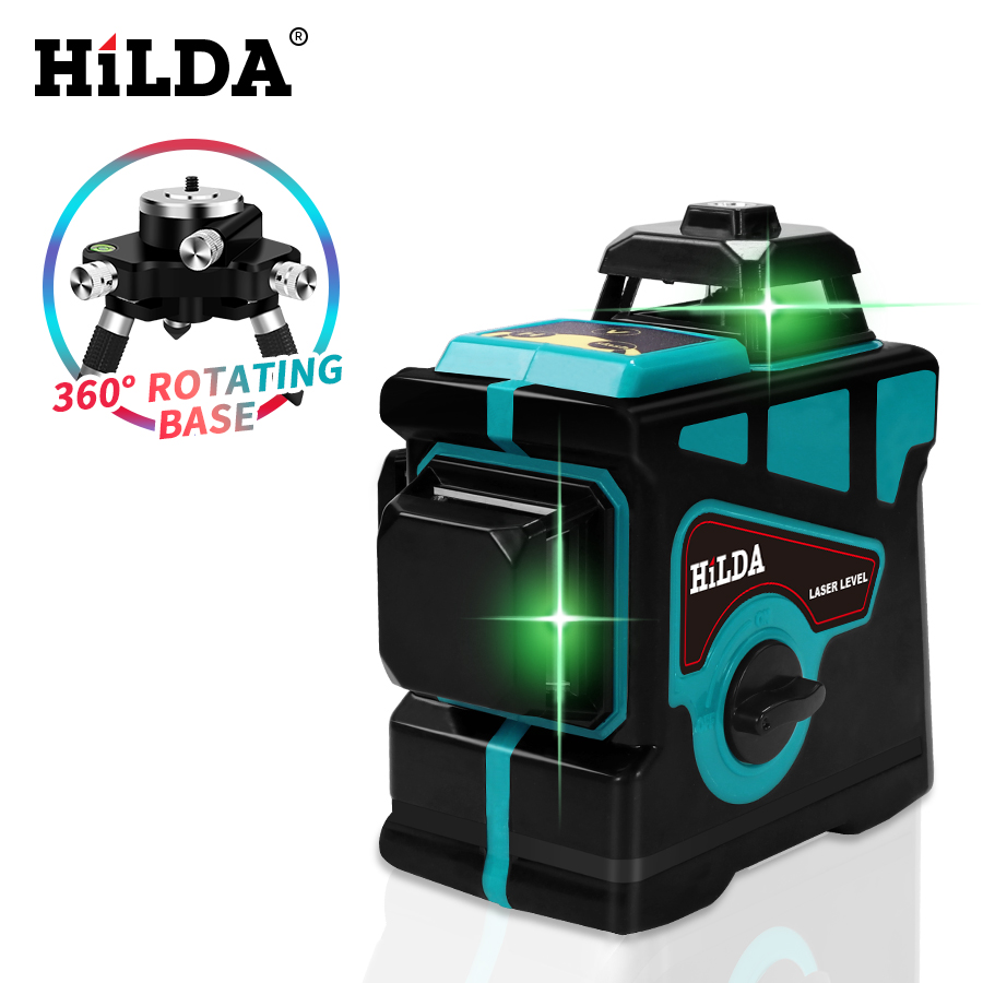 HILDA Laser Level 12 Lines 3D Level Self-Leveling 360 Horizontal And Vertical Cross Super Powerful Green Laser Level