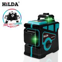 Hilda nível laser 12 linhas 3d nível auto-nivelamento 360 horizontal e vertical cruz super poderoso laser verde nível