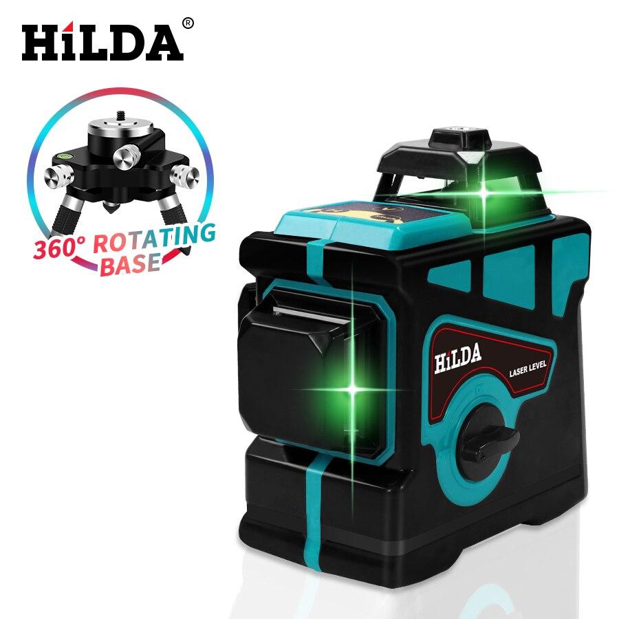 Nível de Auto-Nivelamento Nível Laser Linhas 12 3D HILDA 360 Horizontal E Vertical Nível Cruz Super Poderoso Laser Verde