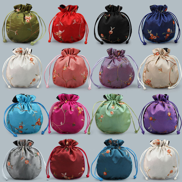 14579c659500 US $7.57 15% OFF|Satin Drawstring Chinese Silk Brocade Pouches bag Damask  Jewelry Product Packing Pouch Christmas/Wedding Gift Bag embroidered -in ...