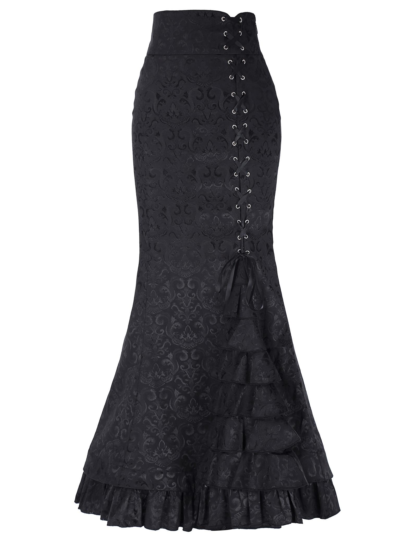 Estilo Maxi Vintage black Moda De Victoriano Retro purple Sirena red Blue Vestido Las Con Elegante Volantes Cola Mujeres Eton n7YxxfCq