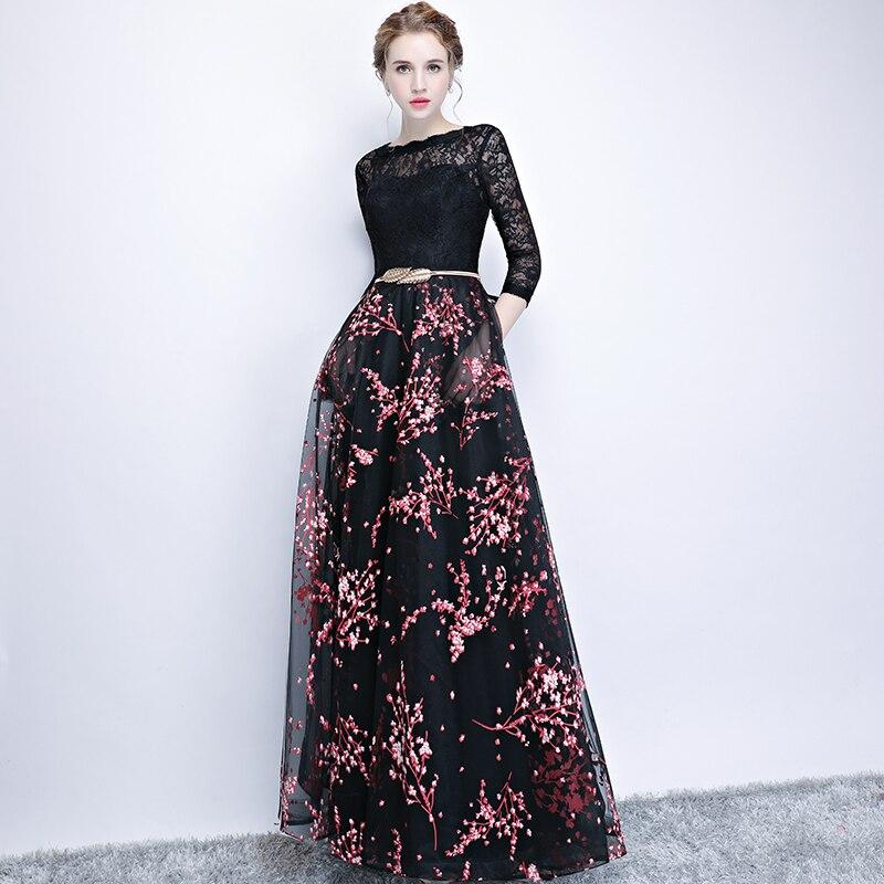 Sexy dentelle noir broderie longues robes de soirée évider robes de Banquet longueur plancher Floral Tulle robe de soirée avec ceinture