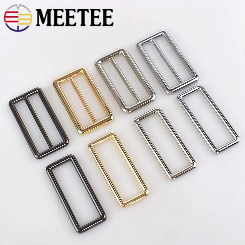 2pcs/4pcs Meetee 50mm Adjustable Buckle Metal Slider Tri Glide D Ring Webbing Belt Ribbon Strap Buckle Bags Diy Accessories Apparel Sewing & Fabric