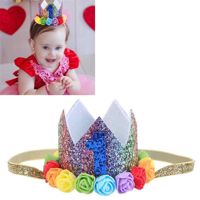 1 pc Baby Headband ดอกไม้สีสันมงกุฎหวานแถบคาดศีรษะยืดหยุ่นแถบผม Headwear Headwrap สำหรับวันเกิด Party