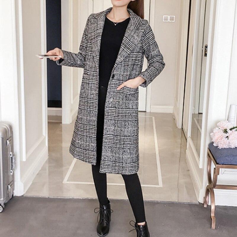 Automne Manteau Treillis De Kenancy Et Nouvelle Multi D'hiver Paragraphe Laine Match Tous Long Femmes Slim Les Ixwqq8