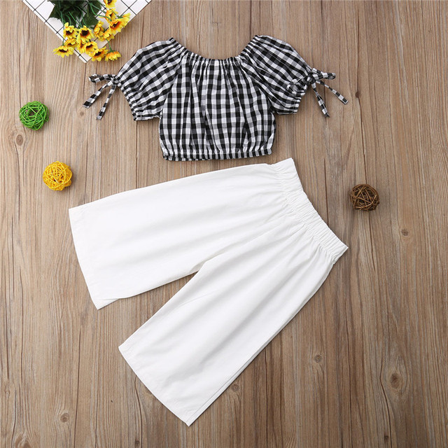 2019 Summer Girls Clothing Set Baby Kids Clothes Suit Children Short Sleeve Plaid T-Shirt Crop Top+Pants roupas infantil meninas 4