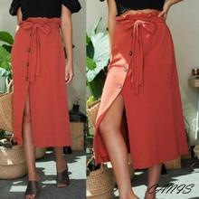 2b01e8942ea7 hirigin Sexy 2019 Women Midi Skirt High Waist Front Slit A line Button  Bandage Long