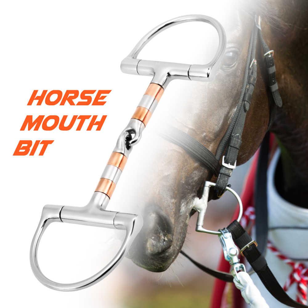Двойной Шарнирный бит конский рот бит нержавеющая сталь лошадь рот кусок Конный снафл конский конь инвентарь для бега