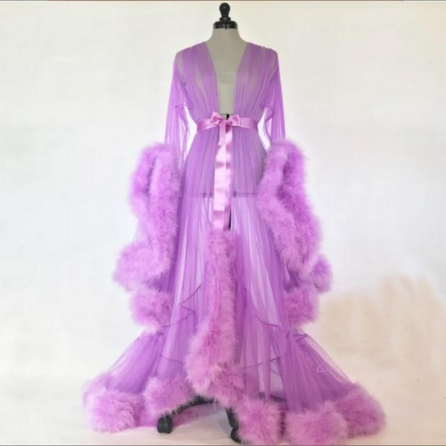 2018 New Sexy Luxury Women Lace Robe Dressing Gown Kimono See Through Babydoll Sleepwear Floor-Length Dress One Size