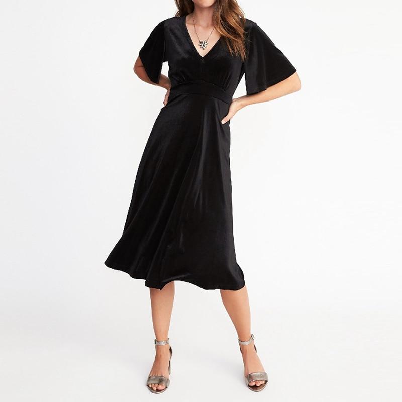 Винтажное осеннее женское вечернее платье 2019 года, Повседневное платье с v-образным вырезом и рукавами «летучая мышь», с высокой талией, с по...