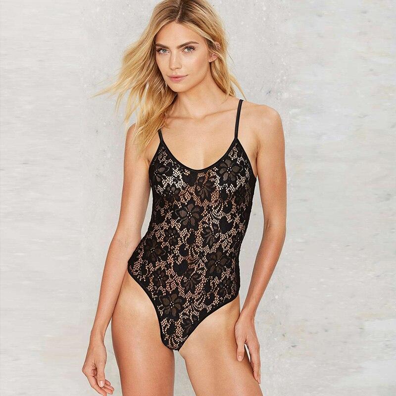 Missomo Dames Overall Mesh Sexy bloemen kanten bodysuit Plus-size - Dameskleding