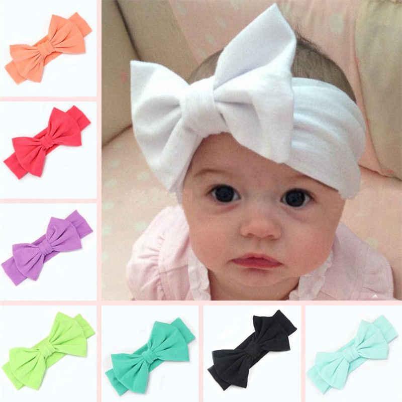 Bowknot grande bebé niño niños niñas Stretch turbante bebé accesorios para el pelo nudo cabeza Haarband abrigo de bebé caliente