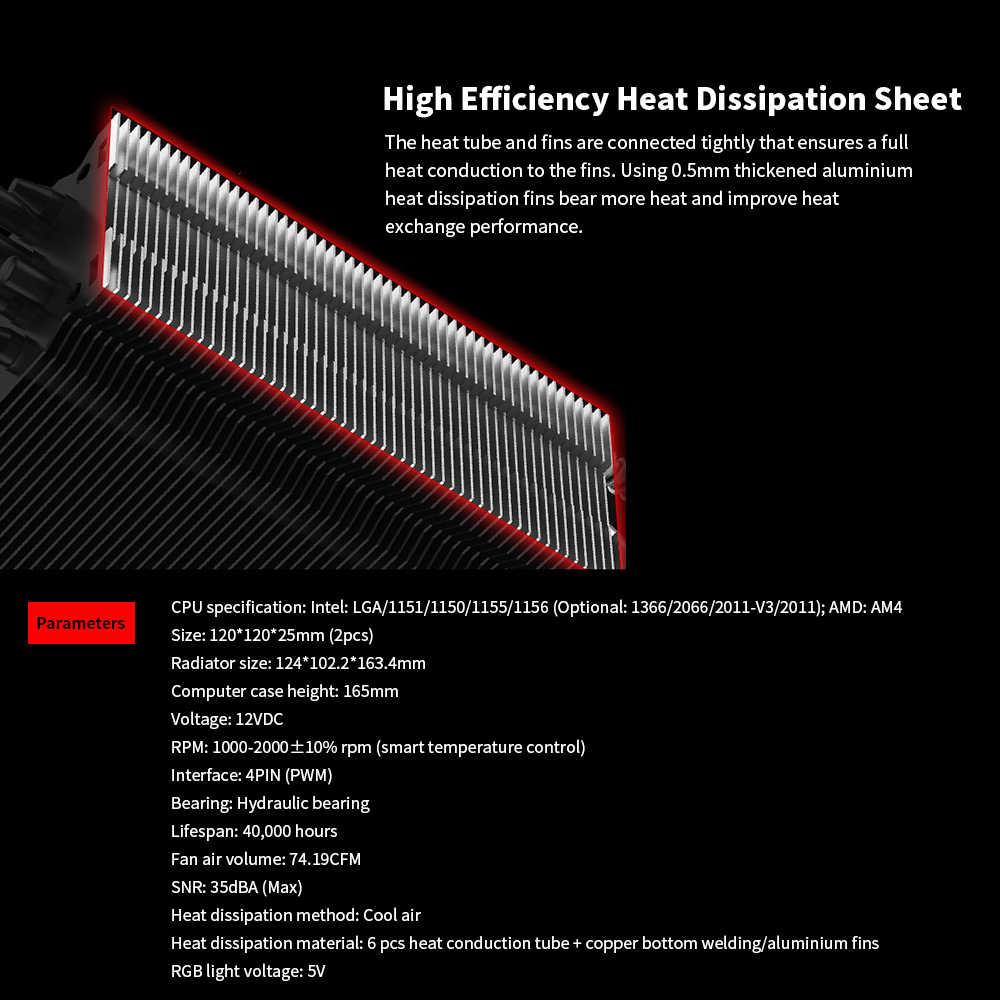 SOPLAY RGB 4PIN PWM colorido ordenador caso ventilador enfriador radiador soporte hidráulico rodamiento 5V RGB ventilador de refrigeración
