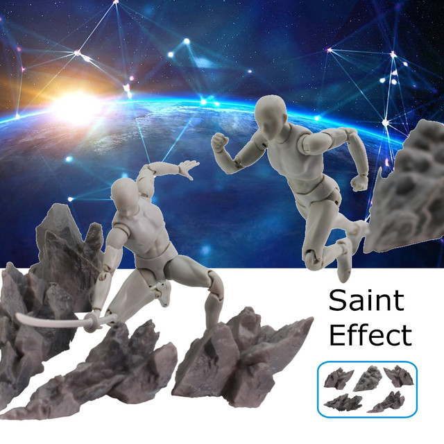 5PCS/Lot Tamashii Effect Impact Grey Stone Fix Saint Seiya Dragonball Soul Figures Action Model Toys Accessories Kit Set