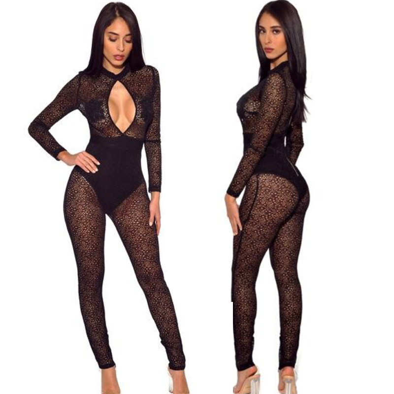 MUXU fashion black lace bodysuit sexy transparent bodycon long sleeve rompers womens jumpsuit one piece party body women