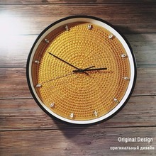 2019 New Original Design Wall Clock Handmade Crochet 3D Silent Modern For Living Room Traditional Decoration