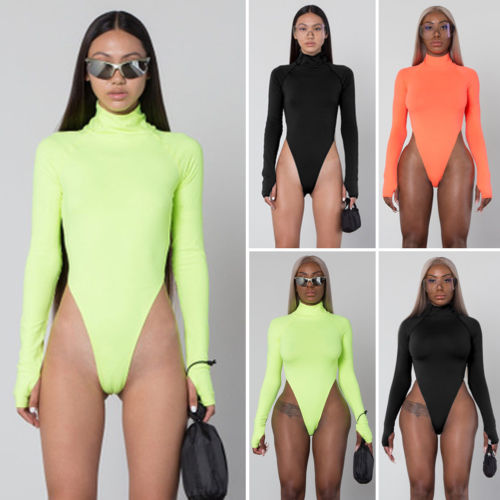 Women Bodysuit 2019 New Leotard Ladies Casual Turtleneck Skinny Solid Playsuits Autumn Long Sleeve Stretch Bodysuit