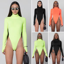 Women Bodysuit 2019 New Leotard Ladies Casual Turtleneck Skinny Solid Playsuits