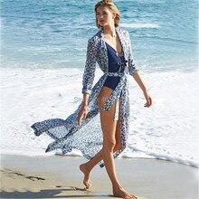00a3ca4cff Leopard Chiffon Beach Cover up Tunics for Beach Long Kaftan Bikini Cover up  Robe de Plage