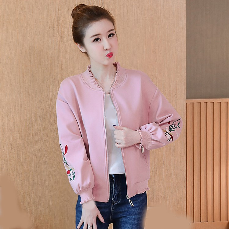 Floral Embroidery Bomber   Jacket   Women Harajuku Short   Jacket   2018 Casual Ruffle Lantern Sleeve   Basic     Jackets   Coat