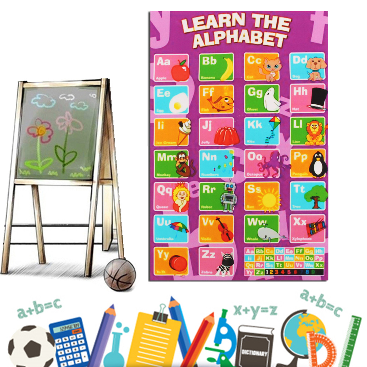 ABC Kids Education English Language A4 Art Alphabet Animal Poster Baby Early Learning Silk Light Canvas Painting Home Decor