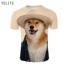 YELITE 2019 Newest Cat Dog 3D Print Animal Cool Funny T-Shirt Men Short Sleeve Summer Tops T Shirt Male Fashion T-shirt male