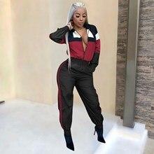 Women Patchwork Hooded Jumpsuit Zipper Long Sleeve Loose Romper Casual Streetwear Palysuit Tracksuit