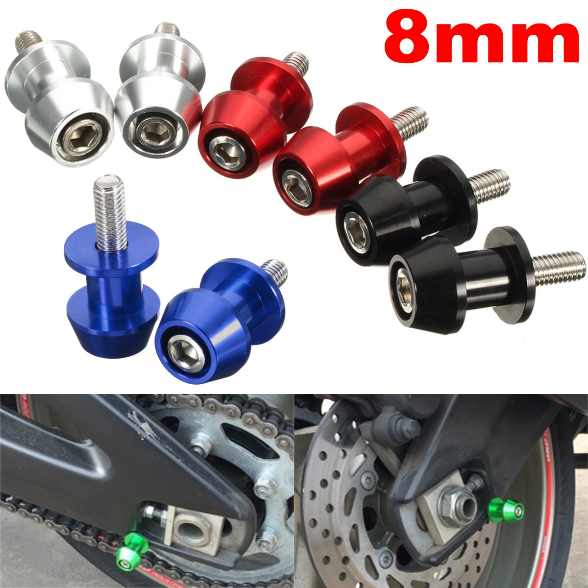 Pair Universal 8mm Motorcycle Swingarm Spools Sliders Swing Screw Stands For BMW/Honda/Kawasaki/Suzuki