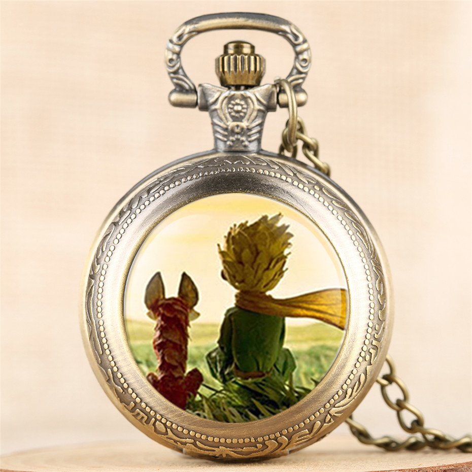 Classic The Little Prince Theme Quartz Pocket Watches For Children Lovely Necklace Clock Best Birthday Gifts For Boys Girls