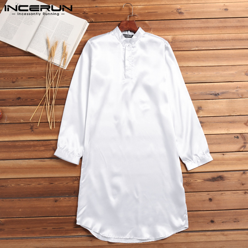 INCERUN Silk Satin Men Robe Pajamas Long Bathrobe Lounge Ropa Arabe  Suits Dress Shirt Gown Masculina Islamic Men Clothing