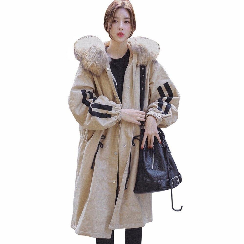Femmes hiver épais manteau mode fourrure col Parka coton rembourré survêtement kaki longue veste Mujer chaud élégant coupe-vent PJ257