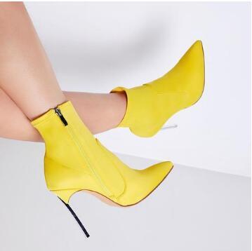 Femmes Or Grande Citron Mince Bottes Taille Sexy Talons Unique Chaussures Bottines Mode Design Jaune Bout Pointu 29EDIH