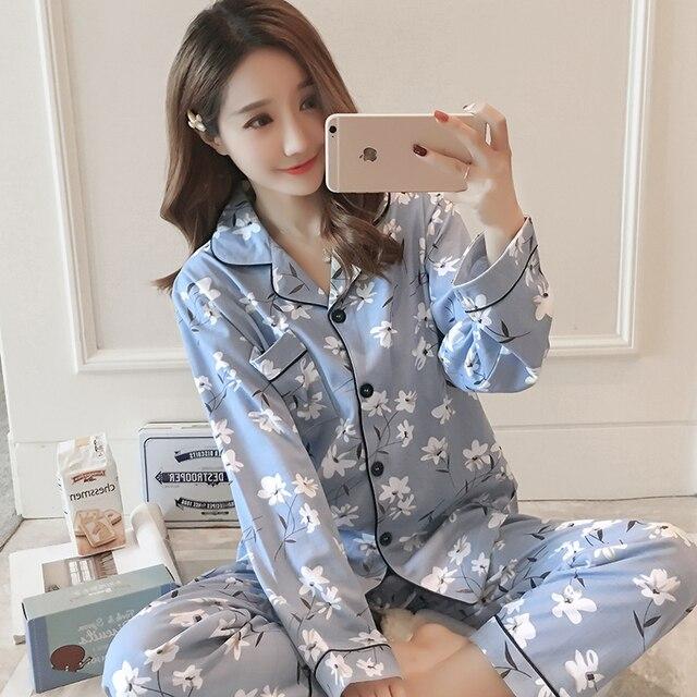 Spring 2019 WAVMIT Women Pyjamas Clothing Long Tops Set Female Pajamas Sets  NightSuit Sleepwear Sets Leisure 934db5ae1