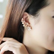 New 1pcs Flower Clip Earrings Shape Rhinestone Left Ear Cuff Clip Ladies Fashion Ear Party Crystal Elegant Golden Earring Clip плед left ear