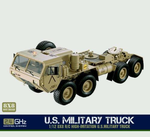 Voiture de châssis en métal AU 1/12 2.4G Radio 8*8 RC militaire américain avec servomoteur TH04721